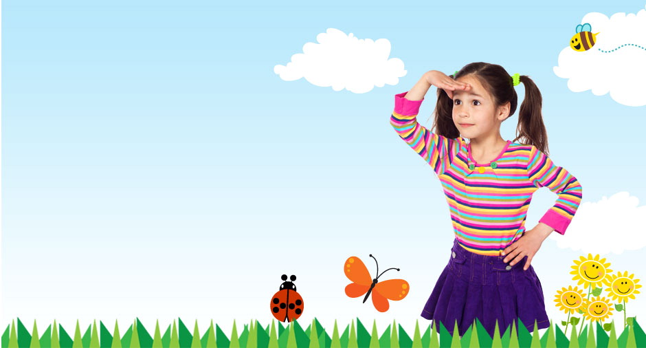 Girl looking into the distance wth animated background