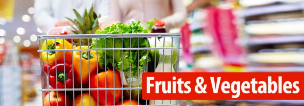 fruits and vegetables in grocer cart